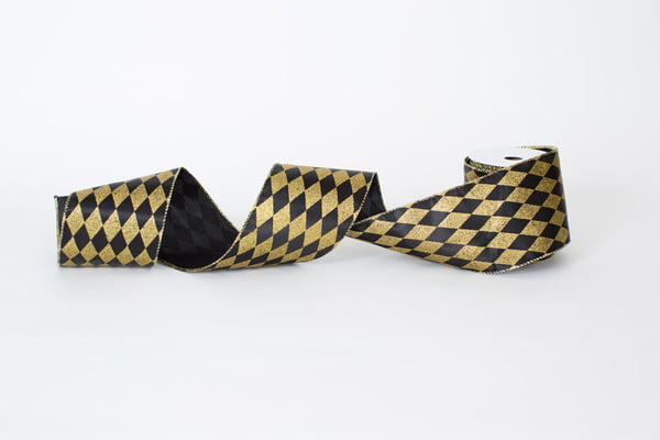 Black and Gold Harlequin Satin Ribbon