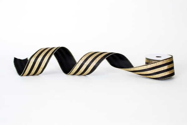 "2.5"" x 10YD Black and Gold Stripes"