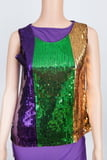 Vertical Stripe Mardi Gras Top XL