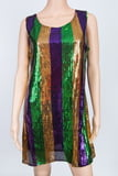Mardi Gras Sequin Stripe Dress XL