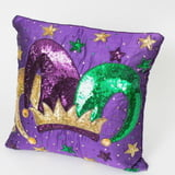 "14"" x 14"" Purple Pillow w Jester Crown"