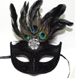 "6"" x 8""Mask Peacock Feather Black"