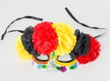 Yellow/Black/Red Roses Mask