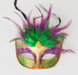 Sequin Mask with Feathers