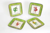"10.5""D Set of 4 Cajun Character Square Plates"