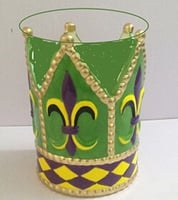 "5""D X 6""H Fleur de Lis and Harlequin Ceramic Container"