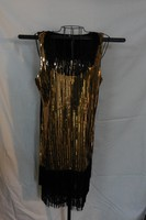 Black and Gold Sequin Dress W/ Long Fringe