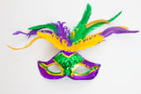 "8"" X 14"" MARDI GRAS FEATHER MASK"