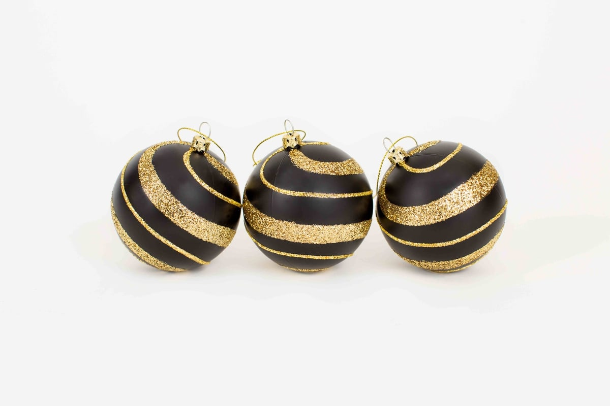80MM Matte Black/Gold Ornaments - The Mardi Gras Collections
